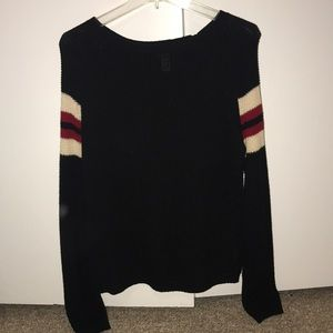 XXI black sweater with stripes on sleeves